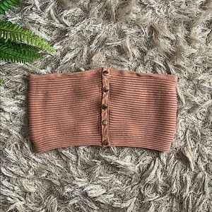 Windsor tan tube top with gold detail